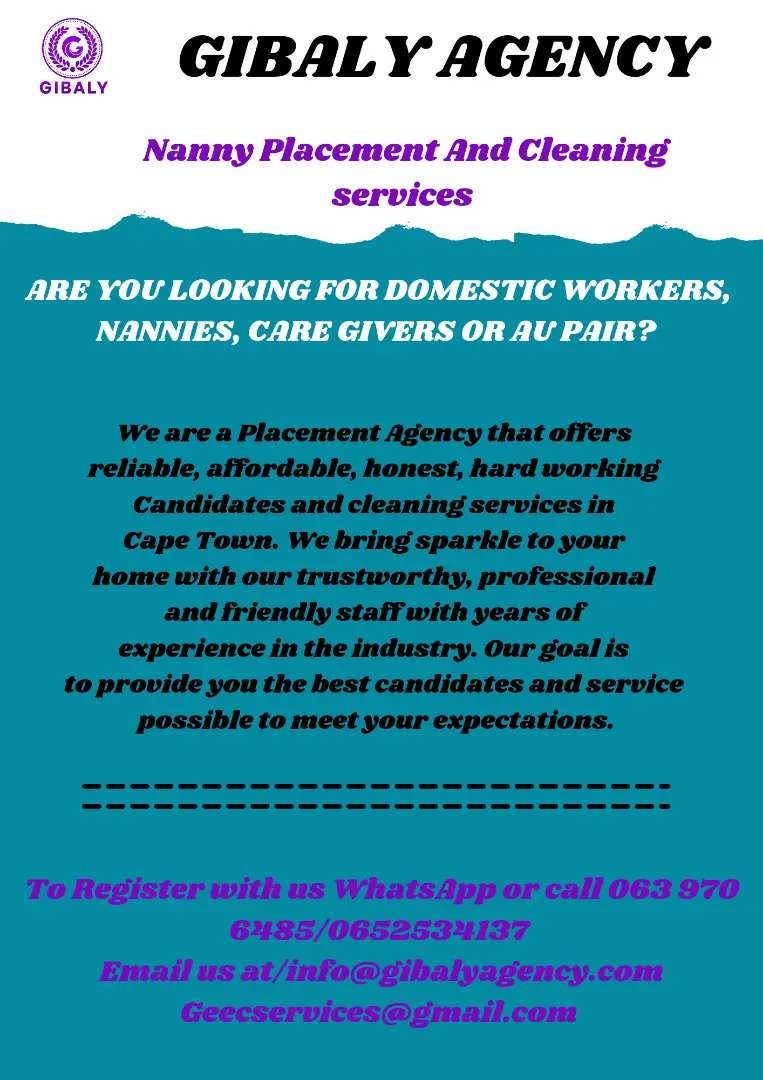 Domestic workers, Nannies, Care Givers, Au Pair etc Available.