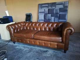 Chesterfield 3seaters geniune leather for home office