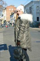 Зимняя женская куртка парка на меху хаки( с ламой) Arvisa TM