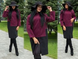 пальто двухцветное бордовое 42-44