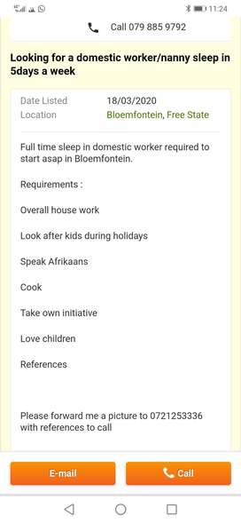 Looking for a sleep in domestic worker to start asap