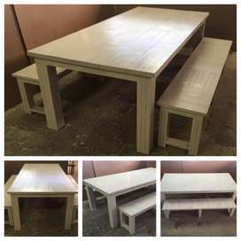 Patio table Chunky Cottage series 2400 Combo - Stained Antique white