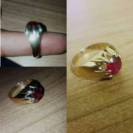 9ct Gold Ring with Red Stone