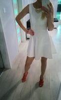 Sukienka biała rozkloszowna h&m , rozm. 34
