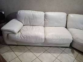 White Genuine Leather Couch.