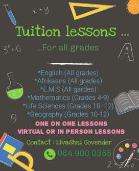 Tuition lessons for all grades