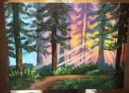 Картина акрилом. Пейзаж. Лес. Акрил. Рисунок. Холст. Живопись