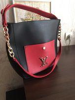 Сумка Louis Vuitton LV очень хорошая и дорогая копия черно красная