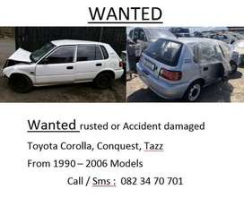 WANTED DAMAGED OR RUSTED CARS/BAKKIES