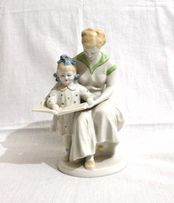 Раритетная статуэтка фигурка фарфор СССР Женщина с девочкой 40-60г