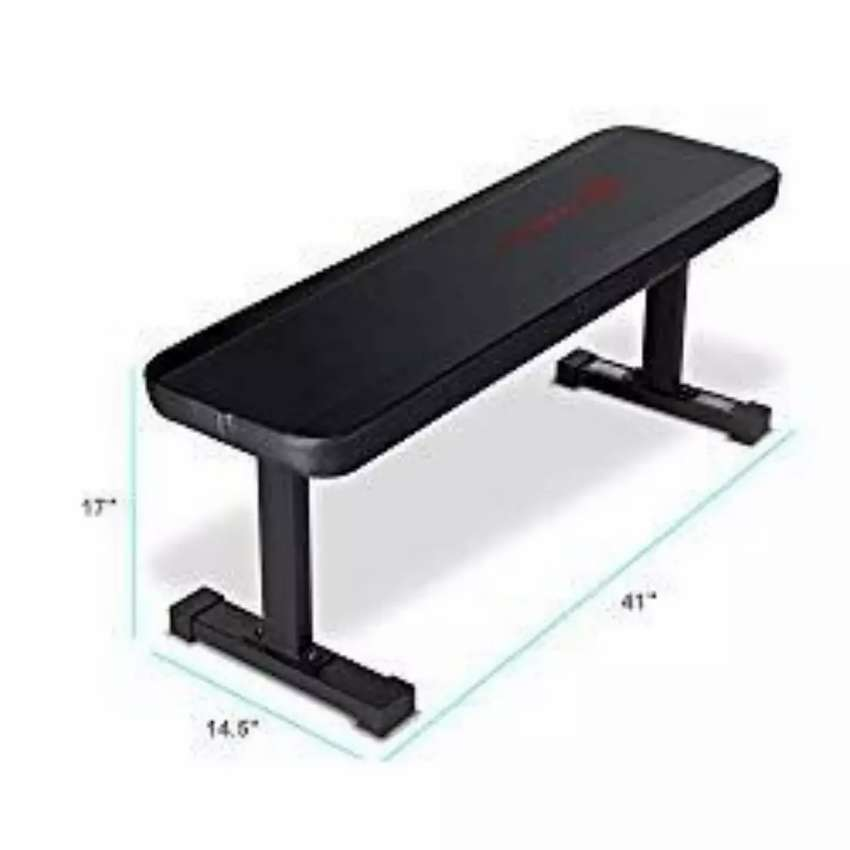Budged flat bench, still heavy duty and ready for a pounding. In stock