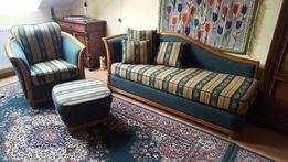 Zestaw stylowych mebli do gabinetu - szezlong sofa, fotel i podnóżek