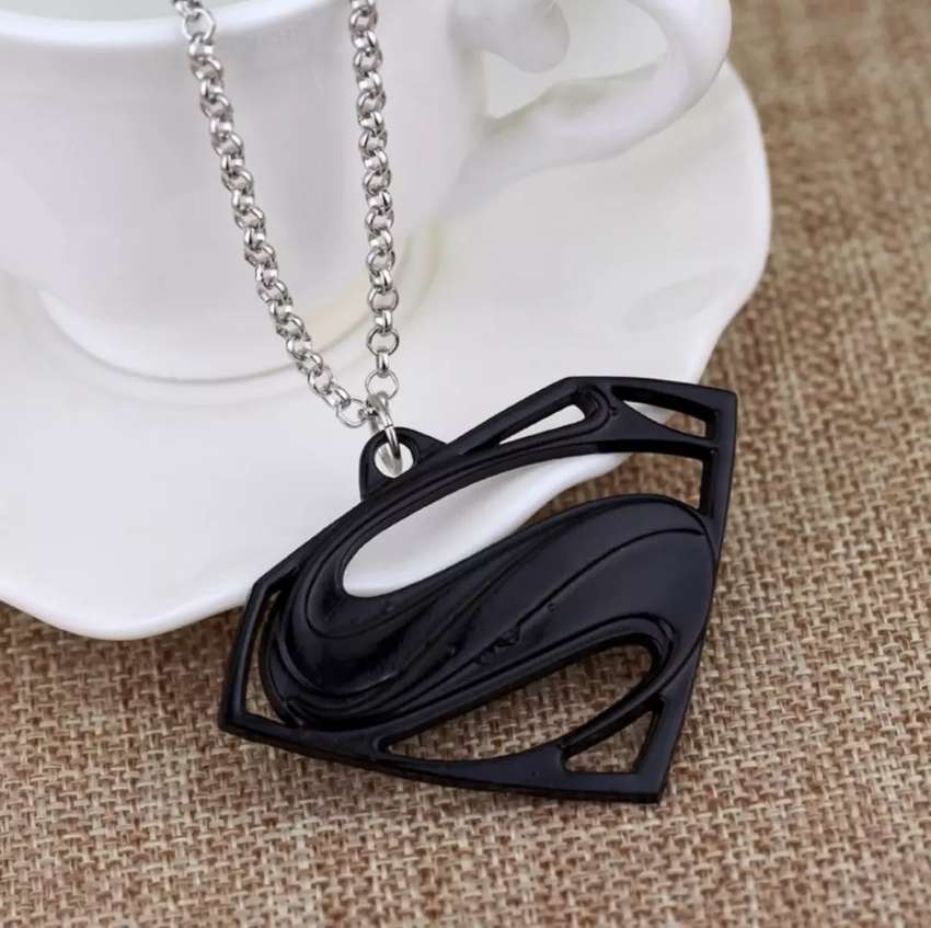 Superman pendant with necklace in Silver Gold Plated Bronze & Black 0