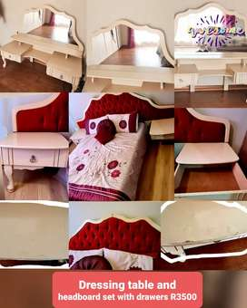 Queen size bedset, headboard and dressing table