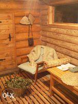 Баня-сруб, печь на дровах