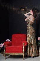 Выпускное платье вечернее Длинное шелковое платье золотое в пол M/L