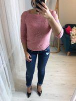 sweterek nowy sweter z dziurami pudrowy dziewczecy slodki bdb jakosc