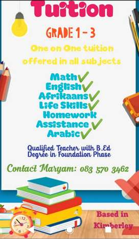 Tutoring all Subjects Grades 1 to 3