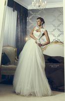 Свадебное платье Anne-Mariee айвори c кружевом, атласом и фатином