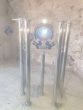 6 Aluminium Legs Podium with Acrylic Top & Base