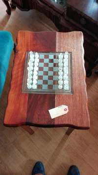 Image of Wooden table with chess in lay(P3147/6)