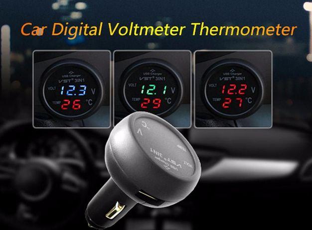 Зарядка USB 3в1 тестер/вольтметр/термометр в прикуриватель зарядное Кривой Рог - изображение 6