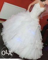 Suknia ślubna, biała, Emmi Mariage Jessica 36/38, 165cm + obcas