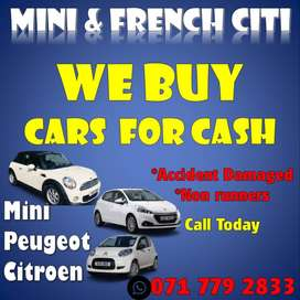 LOOKING FOR ANY MINI PEUGOET CITROEN CARS  FOR SALE ACCIDENT DAMAGED O