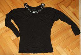 Denny Rose czarna bluzka z biżuteryjnym dekoltem rozm M