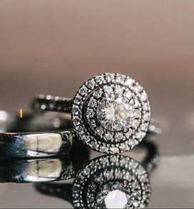 Browns Double Halo Engagement Ring