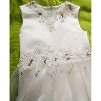 Sukienka elegancka ecru dla dziewczynki tiul+koronka