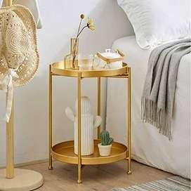 2 Tier Gold Side Table