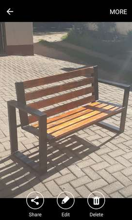 Outdoor metal and wood benches