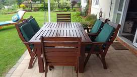 Solid wood 7 piece patio set with cushions