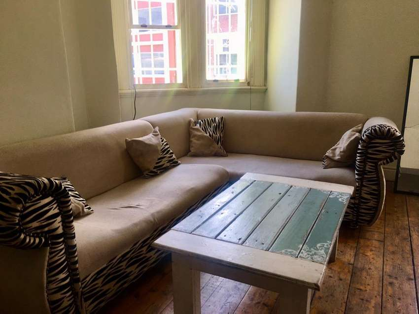 2x Three seater beige couches with zebra detail and cushions 0