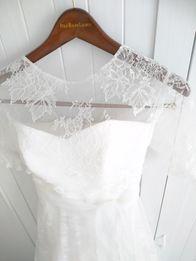 Koronkowa suknia ślubna 3 części dlugi rękaw vintage dodatki sukienka