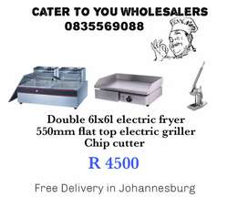 Fryer, chip cutter and griller. Free delivery!!!
