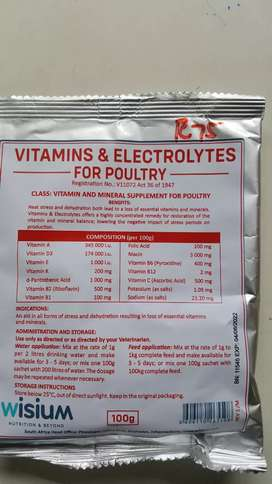 Vitamins and electrolytes for poultry and aviboost