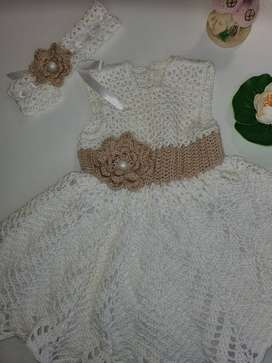 Crochet Baby dress in Beige and White