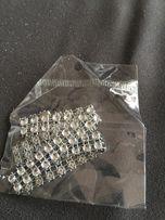 Chokery 2szt, nowe nieużywane, skórzany z wisiorkiem i diamentowy