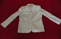 Biały damski rozpinany żakiet marynarka w paski Ice 16 42 XL guziki