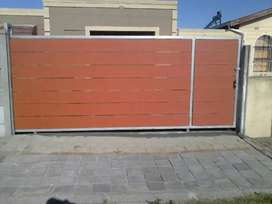 Galvanized Steel Framed Nutec Slated Driveway Gate