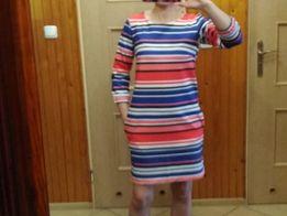 Krótka sukienka w kolorowe pasy