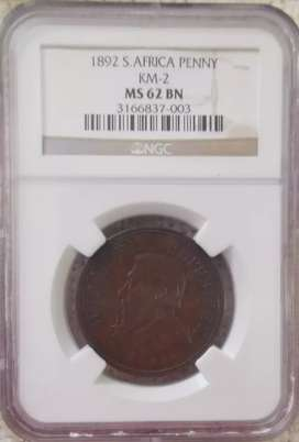 2 x 1892 NGC graded Pennies MS62BN