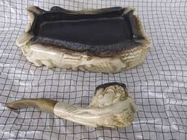 Block Meerschaum vintage hand carved smoking pipe and ashtray set