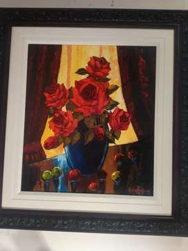Art Nic van Rensburg oil painting on Canvas Framed