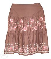 Świetna spódnica FLAME falbany brąz roz 40