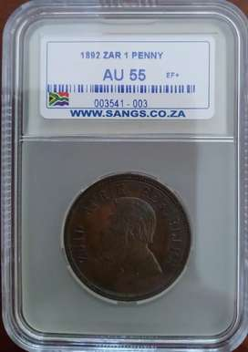 1892 Penny graded AU55 (Almost Uncirculated) Bargain price