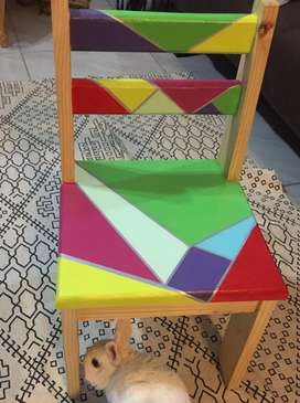 Kids colourful hand painted pine chair