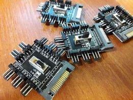 Переходник SATA -> 8 кулеров разветвитель питания 3 pin hub кулер fan
